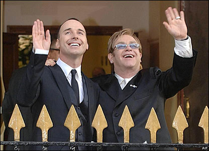 Gay people waving